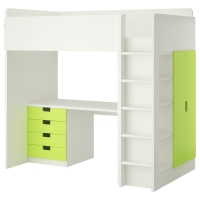 СТУВА Кровать-чердак/4 ящика/2 дверцы, белый, желтый
