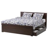 БРУСАЛИ Каркас кровати с 2 ящиками, коричневый