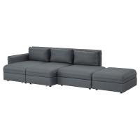 ВАЛЛЕНТУНА 4-местный диван-кровать, Хилларед темно-серый