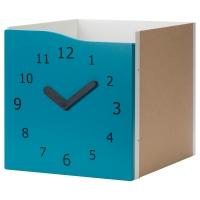 КАЛЛАКС Вставка с дверцей, бирюзовый, часы декоративные