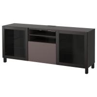 БЕСТО Тумба д/ТВ с ящиками, черно-коричневый, Вальвикен темно-коричневый, прозрачное стекло