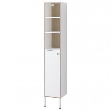 ТИНГЕН шкаф высокий белый под ясень