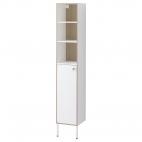 ТИНГЕН Шкаф высокий, белый, пленка под ясень