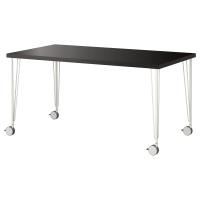 ЛИННМОН / КРИЛЛЕ стол письменный коричневый / белый
