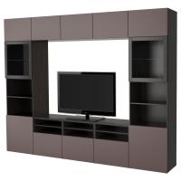 БЕСТО Шкаф для ТВ, комбин/стеклян дверцы, черно-коричневый, Вальвикен темно-коричневый, прозрачное стекло