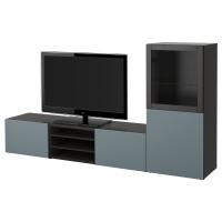 БЕСТО Шкаф для ТВ, комбин/стеклян дверцы, черно-коричневый, Вальвикен серо-бирюзовый, прозрачное стекло