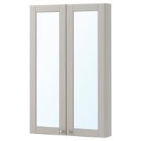 ГОДМОРГОН шкаф зеркальный с 2 дверцами Кашен серый ширина 60 см