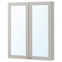 ГОДМОРГОН шкаф зеркальный с 2 дверцами Кашен серый