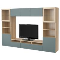БЕСТО Шкаф для ТВ, комбин/стеклян дверцы, под беленый дуб, Вальвикен серо-бирюзовый, прозрачное стекло