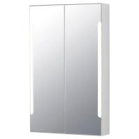 СТОРЙОРМ шкафчик зеркальный с подсветкой 2 дверцы ширина 60 см белый