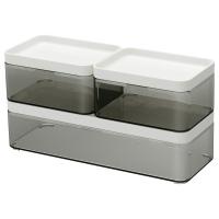 БРОГРУНД контейнер 3 шт прозрачный серый / белый