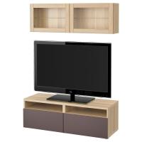 БЕСТО Шкаф для ТВ, комбин/стеклян дверцы, под беленый дуб, Вальвикен темно-коричневый, прозрачное стекло