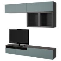 БЕСТО Шкаф для ТВ, комбин/стеклян дверцы, черно-коричневый, Сельсвикен глянцевый/бежевый/дымчатое стекло