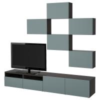 БЕСТО Шкаф для ТВ, комбинация, черно-коричневый, Вальвикен серо-бирюзовый