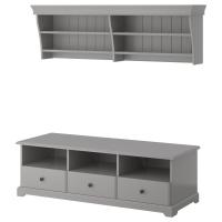 ЛИАТОРП Шкаф для ТВ, комбинация, серый