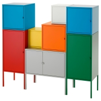 ЛИКСГУЛЬТ Комбинация д/хранения, бел/зелен/син/желтый, красный/оранжевый/серый