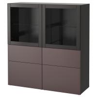 БЕСТО Комбинация д/хранения+стекл дверц, черно-коричневый, Вальвикен темно-коричневый, прозрачное стекло