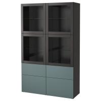 БЕСТО Комбинация д/хранения+стекл дверц, черно-коричневый, Вальвикен серо-бирюзовый, прозрачное стекло