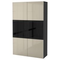 БЕСТО Комбинация д/хранения+стекл дверц, черно-коричневый, Сельсвикен глянцевый/бежевый прозрачное стекло