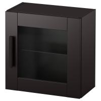 БРИМНЭС Навесной шкаф со стеклянной дверью, черный