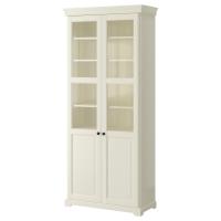 ЛИАТОРП Шкаф книжный со стеклянными дверьми, белый