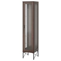 ТОККАРП Высок шкаф со стеклянн дверьми, коричневый