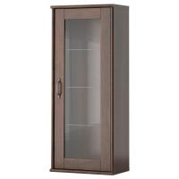 ТОККАРП Навесной шкаф со стеклянной дверью, коричневый