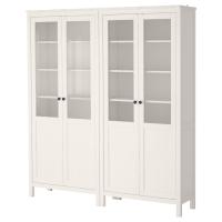 ХЕМНЭС Комбинация д/хранения+стекл дверц, белая морилка