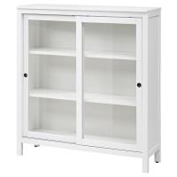 ХЕМНЭС Шкаф-витрина, белая морилка