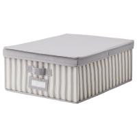 СВИРА Коробка с крышкой, серый, белый полоска