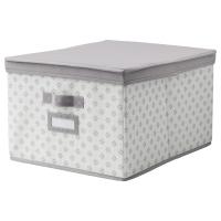 СВИРА Коробка с крышкой, серый, белый цветы