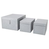 БАТТИНГ Набор коробок, 3 шт., серый