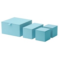 ПАЛЬРА Набор коробок с крышкой, 4 шт, голубой