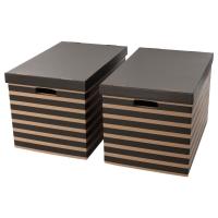 ПИНГЛА Коробка с крышкой, черный, естественный