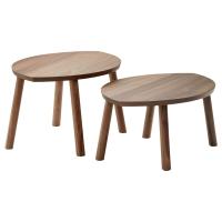 СТОКГОЛЬМ Комплект столов, 2 шт, шпон грецкого ореха