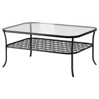 КЛИНГСБУ Журнальный стол, черный, прозрачное стекло