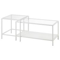 ВИТШЁ Комплект столов, 2 шт, белый, стекло