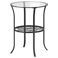 КЛИНГСБУ Придиванный столик, черный, прозрачное стекло