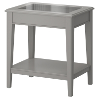 ЛИАТОРП Придиванный столик, серый, стекло