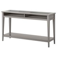 ЛИАТОРП Консольный стол, серый, стекло