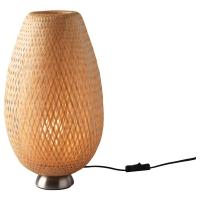 БОЙА Лампа настольная, никелированный, бамбук ротанг
