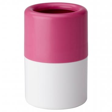 ЛОСШЁН стакан для зубных щеток розовый / белый