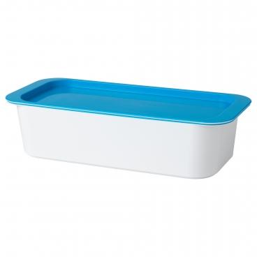 ГЕССАН контейнер с крышкой белый / синий