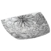 БЛУМКУЛЛА Потолочный светильник, черный/белый, цветы