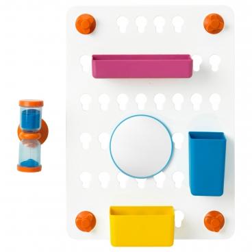 ЛОДДАН панель с аксессуарами 6 предметов с присосками разные цвета